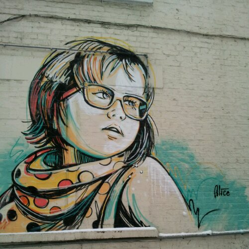 Alice Pasquini portrait of a girl on White Church Lane