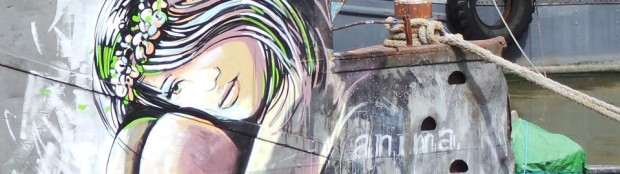 Alice Pasquini on a boat in the Thamses