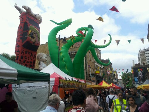 Lots going on with this giant inflatable tentactle dominating the skyline
