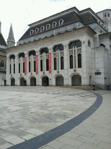 The Roman Ampitheatre lies underneath the Guildhall and the outline is contained within the paved area of the yard in front