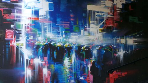 Dan Kitchener mural on the South Bank