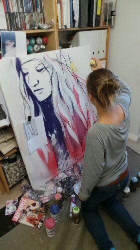 Hannah at work in her studio