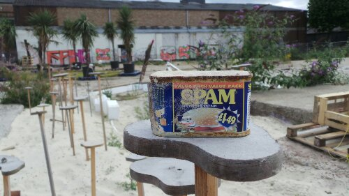 Just off Stour Lane some artists were exploring the concept of community.  This piece included a tin of Spam
