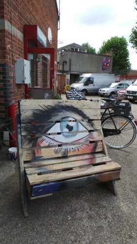 In the yard of the studio behind the Bream Street wall