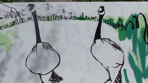 Esther Neslen added these geese as part of the mural