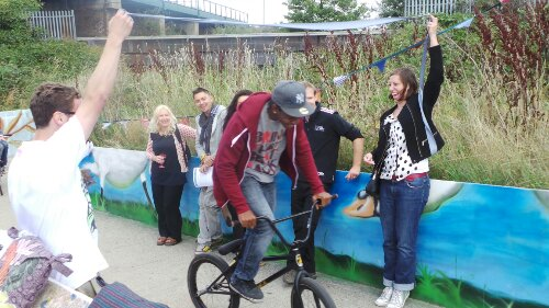 The mural has been created to brighten up a popular walking and cycling area.