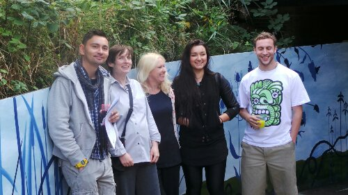 Organiser Fabien Ho, local artists Esther Neslen, Della Rees and Karis Knight and Lee Bofkin from Global Street Art