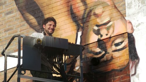 Martin painting on Hanbury Street last time he was in London