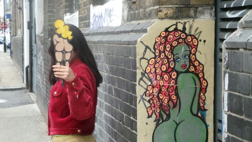 Keen on protecting her identity, Saki by one of her street pieces