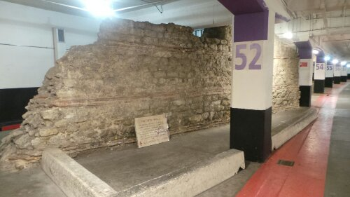 A remaining section of the Roman Wall underneath the car park near the Western Gate