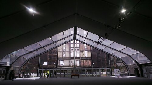 A short covered walkway led into a temporary hall with information and Battersea Power Station staff explaining what the plans were for redevelopment