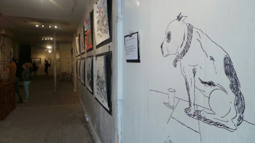 A sketch of George on the wall of the gallery