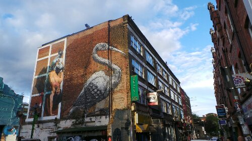 Hanbury Street is a good place to see street art and the ROA Crane is one of it's most famous pieces