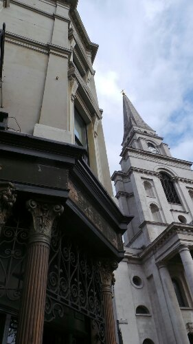 The Ten Bells pub with Christ Church Spitalfields