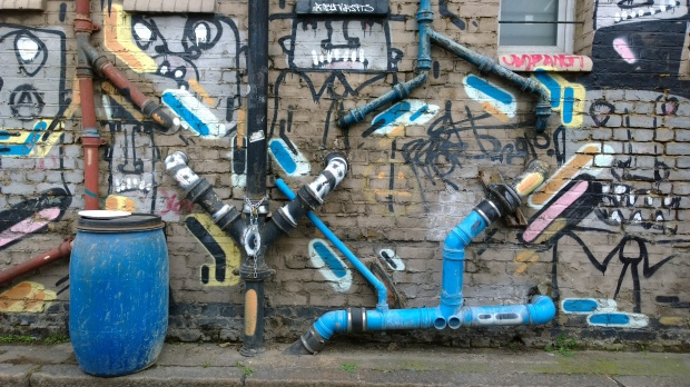 Colourful drainpipes just off White Post Lane