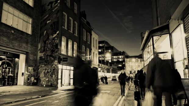 Hanbury Street in the evening.  I used a long exposure and then made it black and white