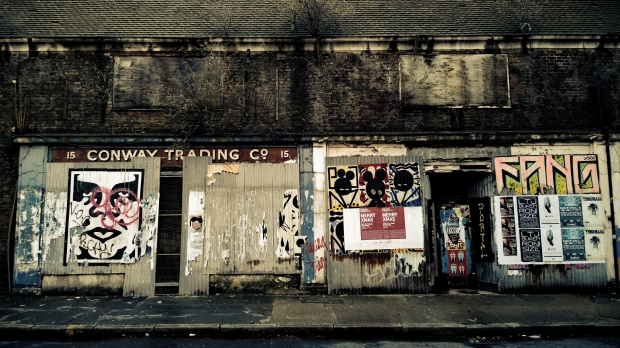 An atmospheric bunch of paste ups on Toynbee Street.  A filter has been applied and the contrast played with