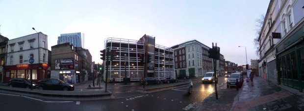 The Car Park now occupying the space of Millers Court as seen from Commercial Street.  Whites Row is the street running to the left of the car park