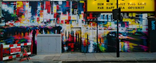Part of Dan Kitchener's 'Liquid Lights' series taking up a full wall on Hartland Road just off Chalk Farm Road