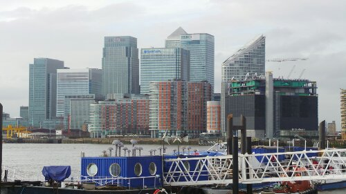 Some Christiaan Nagal Mushrooms with Canary Wharf in the background