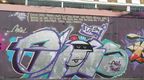 Whilst there the hall had a number of tributes to the graffiti writer Ekon who died recently.  This piece was his last at the hall