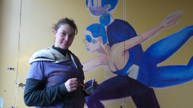 Her illustrative style soon begun to take shape as having initially outlined using spray paint she filled in by using a brush
