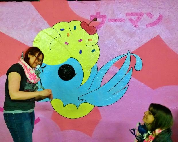 Hoshiko, a UK based street artist painted a cute blue sparrow