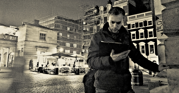 Checking the map in the market square