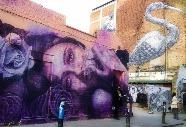 Rone's new piece with ROA's Crane in the background