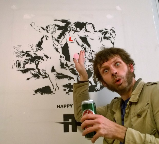 Agent Provocatuer with his image in the gallery space.  He produced a similar piece in Dulwich