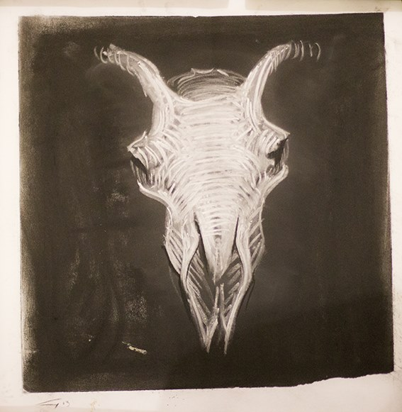 Skull (chalk on paper) by Guy Haddon Grant