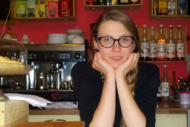 Jenny Judova was interviewed at the Vintage Bean Cafe on Brick Lane