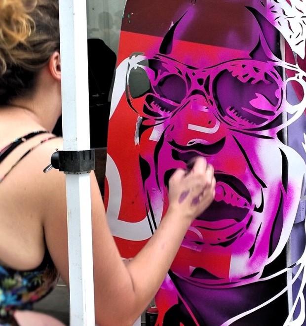 Thieu stencilling Ray Charles