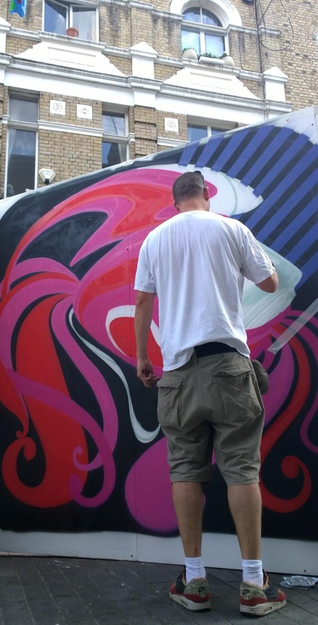 Inkie painting on Whitecross Street