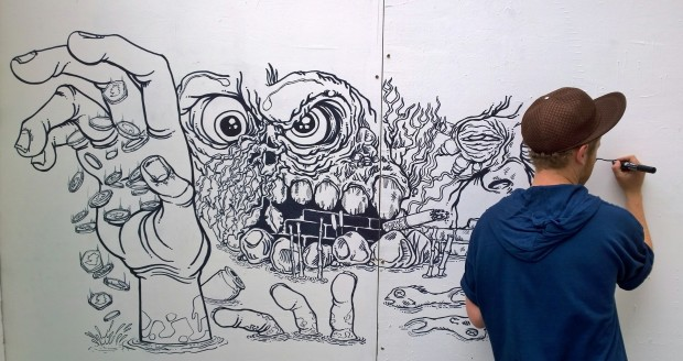 Joe Fur used pen and ink to create this great mural