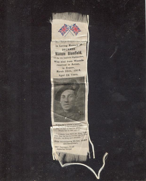A silk commemorating Private William Blomfield