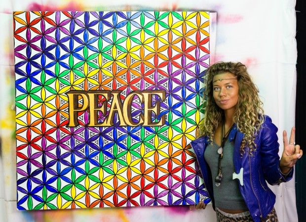 Francesca Love Artist has painted in the Peace Booth picture courtesy of International Alert