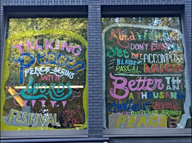 Window painting for peace in Hoxton Square by Lana Alana