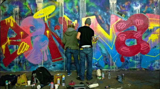 Itsa Disorder and Koby in action creating the tribute.  Itsa Disorder In a message on the Team Naz Facebook page Disorder said that the 2013 paint jam inspired her to paint again after a lengthy break