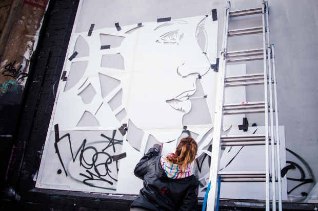 Zabou is becoming well known for her stencil work.  Picture courtesy of Rob Wilson Jnr