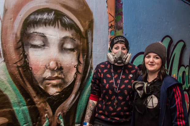 Cbloxx and Aylo next to their mural.  Photo by Rob Wilson Jnr