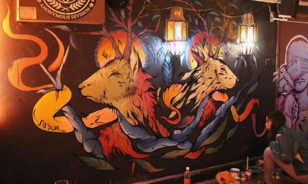 Work from Fio Silva and Pauli Bates tribute to Ben Naz in Montys Bar