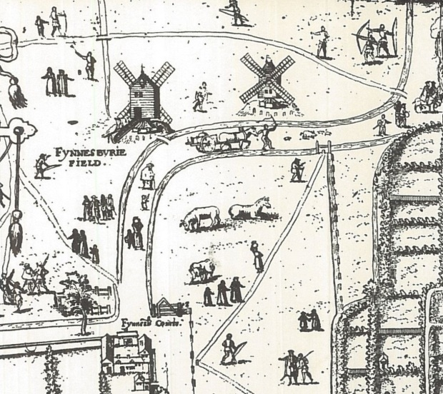 The Copperplate map, the first known map of London showing the area of Finsbury Square