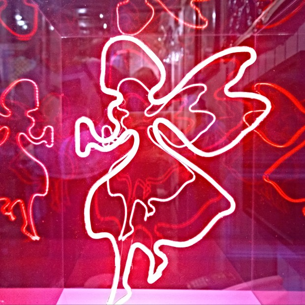 A neon London Graffairy at the gallery