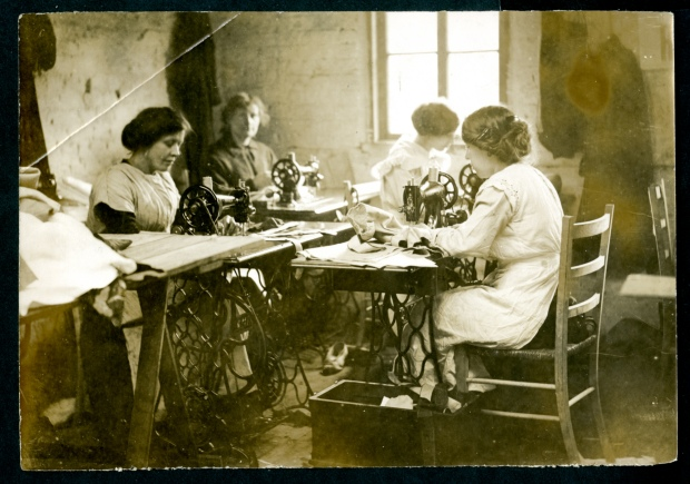 women working in the toy factory