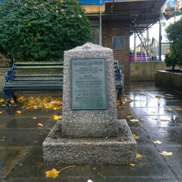 The George Lansbury memorial stands on the site of his former home now demolished on the Bow Road