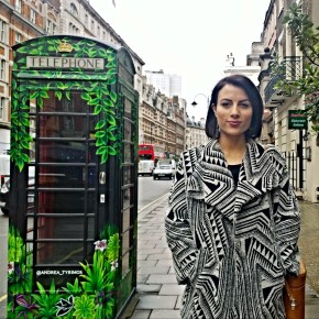 Andrea Tyrimos on Southampton Row with her living box