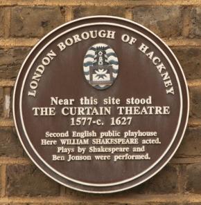 The old Hackney Curtain Theatre plaque (c) MOLA