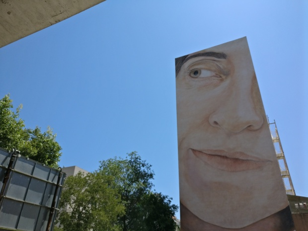 Mural of a giant face by Jorge Rodriguez Garcia on the corner of Carrer de las Selva de Mar and Rambla de Guipuscoa