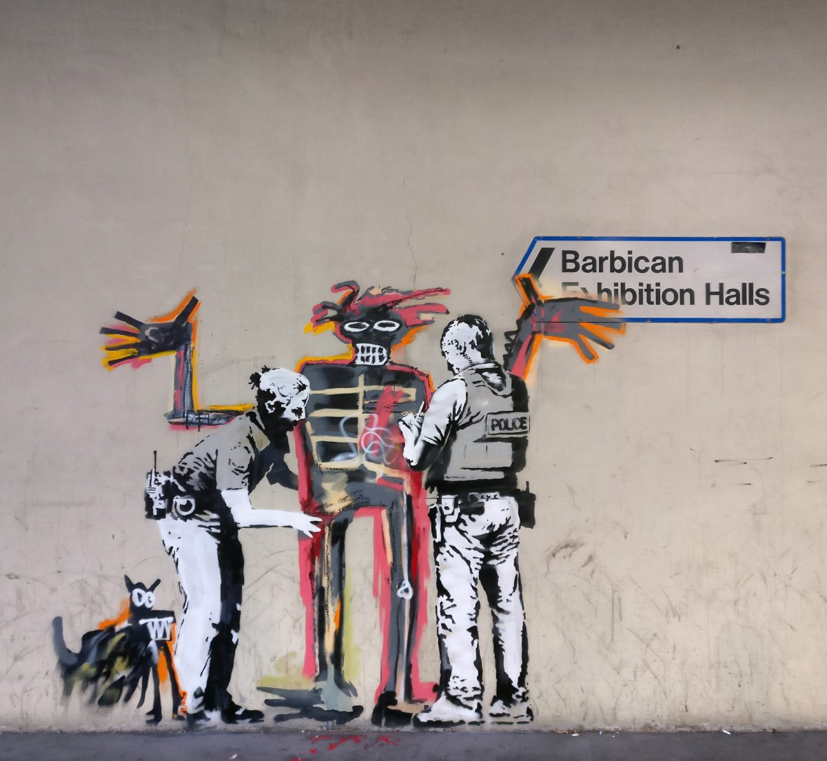 Banksy tribute mural to Jean-Michel Basquiat appears at the Barbican in London